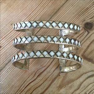 Lucky Brand Gold & White Enamel Cuff Bracelet